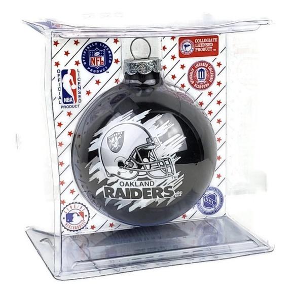 Oakland Raiders Christmas Ornaments.Oakland Raiders Christmas Ornament Glass Ball Nfl Nwt